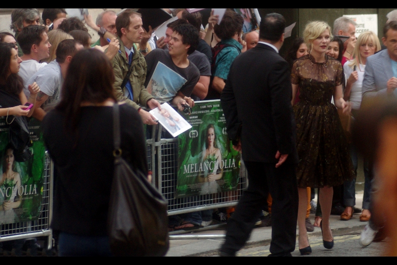 Kirsten Dunst has arrived, and she looks like a thinner Scarlett Johansson according to me. That said, I'm notoriously unreliable when I'm actually in the presence of anyone good looking. (This can be seen as both simultaneously a good and bad thing for me or Kirsten Dunst).