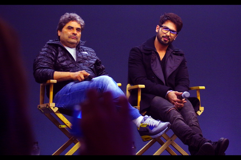"""We know what you watched this summer... and it was Guardians of the Galaxy..."" Shahid Kapoor and Vishal Bhardwaj for their movie  'Haider"" at The Apple Store"