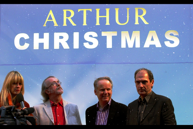 'Arthur Christmas' is an Aardman animated film. This lineup of notables includes, from left to right: Interviewer/DJ Edith Bowman, Aardman Founder Peter Lord, Wallace & Gromit creator Nick Park, and <currently unknown>