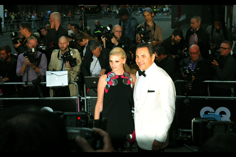 A slightly overexposed shot of Model Lara Stone (L) and Comedian David Walliams (R). She's looking lovely in what appears to be a relatively normal dress, while his white tux will destroy any chance I have of correctly exposing any shots of them taken high-and-blind over the paparazzi wall in front of me.