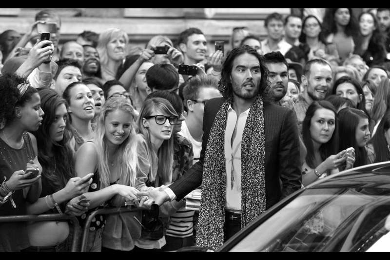 Russell Brand... sadly not easily distracted. I haven't previously photographed him, either. And he ended up winning the *Oracle* Award. I'm not sure exactly what that's for, so I won't be arguing against him receiving it.