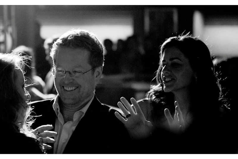 Andrew Stanton and producer Lindsey Collins catch up with actress Samantha Morton, who was in the film, and was one of the 'precogs in that tank' in Spielberg's 'Minority Report'. I had no luck photographing her or her weird green/blue dress on the night.