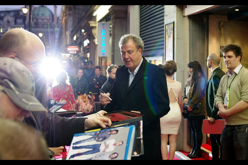 Meanwhile  Top Gear's Jeremy Clarkson showed up and was actually smiling for a bit! (Big thanks to my lens and that paparazzi flash for it's beautiful flare on this shot!)