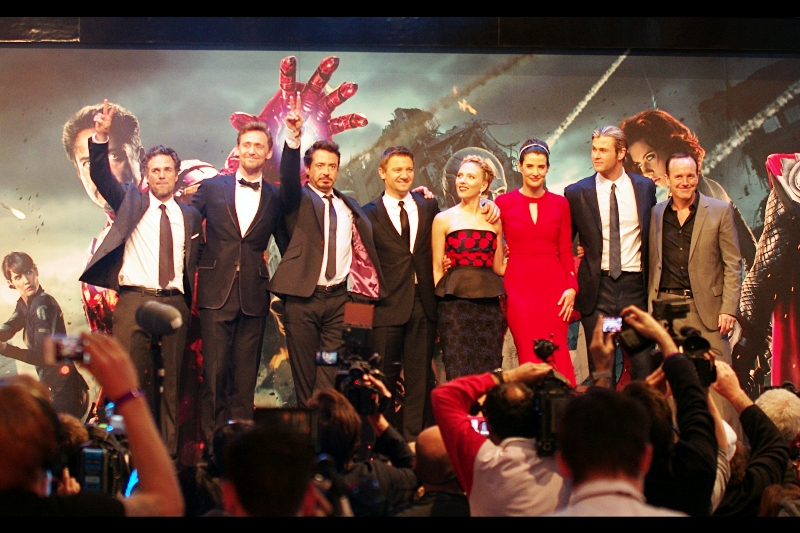 The Avengers Assemble on the stage as a group. Okay, Fine... I'll watch the movie. 11 hours of that trailer will eventually wear a man down anyway. Premiere? Over. 1.5hr trip home to start editing photos for 4 or so hours? Just beginning.