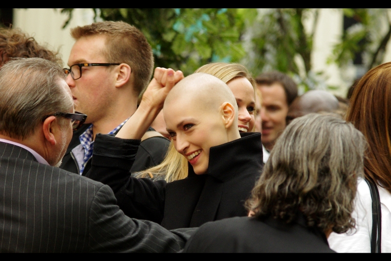 And finally, I have no idea who she is, but few women (with the possible exception of Natalie Portman) can wear baldness quite so well. Also, I intend to greet at least one stranger per week like this.