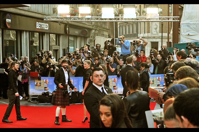 Meanwhile, David Tennant and Kilt; and Rosamund Pike and Frilly Top are done with their photographic duties and will now commence doing interviews and perhaps some autograph signings and selfies with fans later.