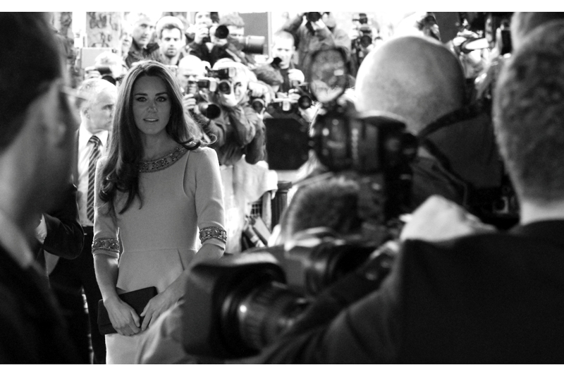"Believe me, I'm just as puzzled as she was that I got eye-contact with the former Kate Middleton, now the Duchess of Cambridge, at  the premiere of the documentary ""African Cats"""