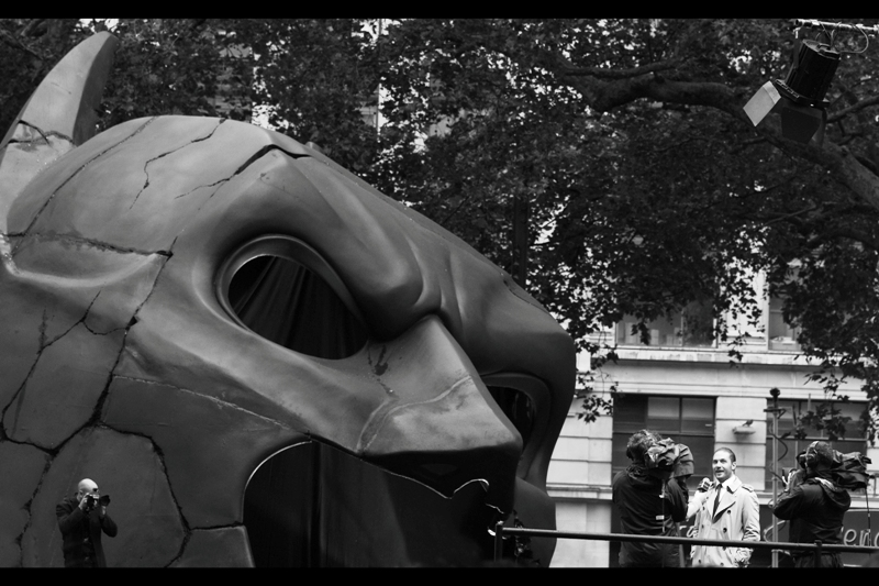 """So I was like 'Batman? Never heard of him'. Next question?"" Did I mention they put a gigantic Batman Cowl into the centre of Leicester Square? Because... as you can see.... they did."