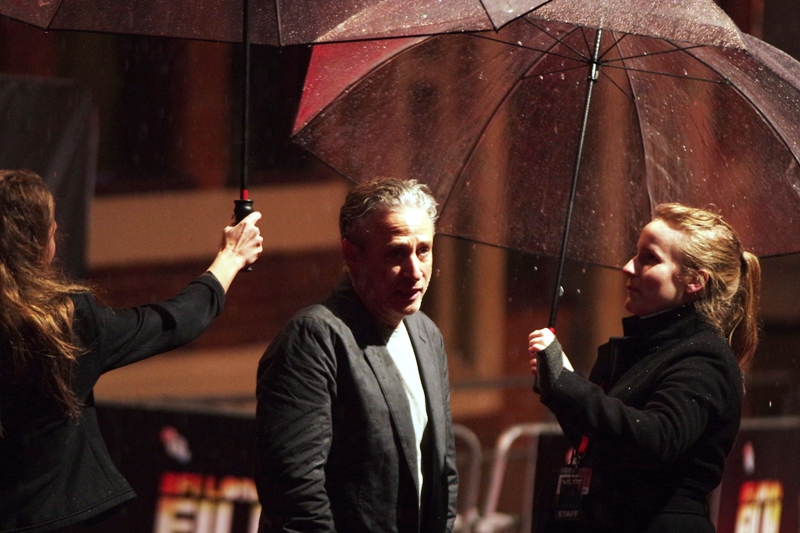 Jon Stewart, still/again outside, with an assistant, security and an umbrella. He briefly looked at me. I briefly looked at him. He went in side. And all of a sudden I was alone....