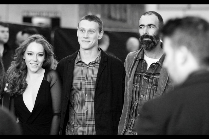 "Charlotte Spencer, George MacKay and a guy with the world's most amazing Moustache at  the premiere of ""Bypass"""