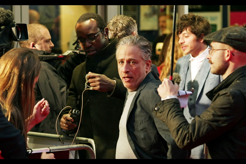 "Jon Stewart and Dimitri Leonidas at  the premiere of ""Rosewater"""