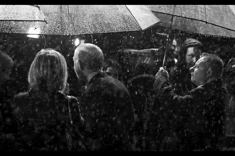 """I guess you guys must have been desperate for this kind of downpour at the premiere for ""Noah"", huh?"" . Ironically, that premiere was quite dry..."