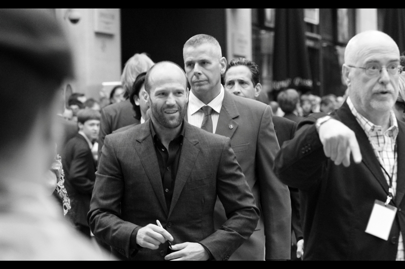 "The patron saint of balding white men, St Jason of Statham. He and Dolph Lundgren were the only two to sign in our area. Did he sign my journal? Yes he did. Last photographed at the premiere of ""Safe"""