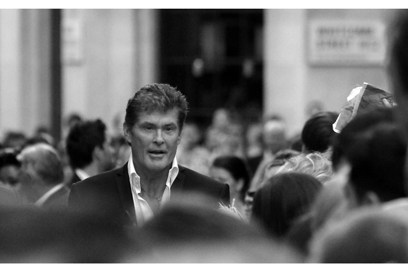 The man, the myth, the hairstyle : David Hasselhoff has entered Leicester Square, and this premiere just got elevated a few notches. Not from 'bad' to 'good', obviously. 'Vile' to 'dire', maybe. Still, well-played Hoff.