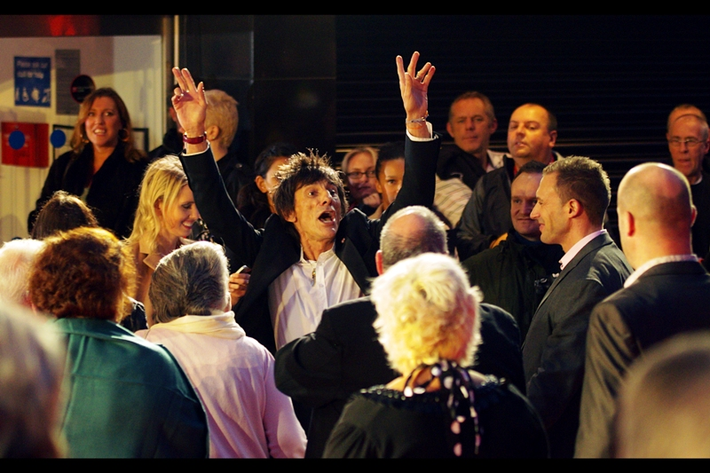 Ronnie Wood. Possibly being kidnapped and being forced to watch the movie he's in at his own premiere, poor guy...