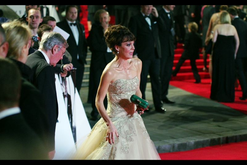 Helen McCrory. Not sure of spelling or role in the film. Dress seems cumbersome, though. And surely the green handbag purse thing clashes with both the dress and the carpet? (hey... I was accessorised in neutral colours. I can comment)