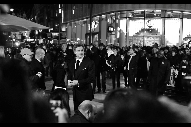 Behind Colin Firth is London's M&M World. I can't say I'm a regular there, but the colour and lighting it lends to some premieres can be very helpful. I'm celebrating this by converting this shot to black'n'white...