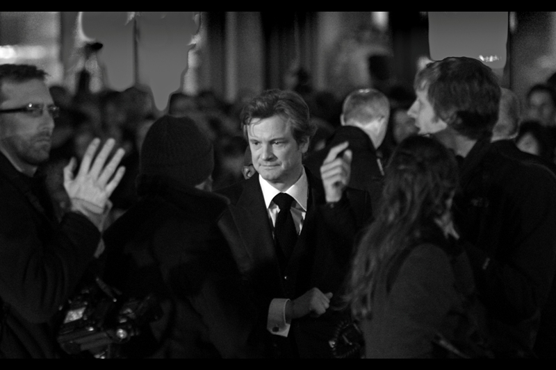 Colin Firth is happy to meet fans, but doesn't high-five just anyone. He's an Academy Awards winner. (Chest-bumps or higher, people)