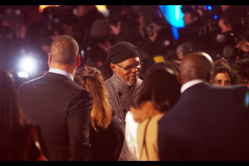 "It's Samuel L Jackson!! After his failure to attend the premiere of both  ""The Avengers""  (though Scarlett Johansson's presence made that one awesome) and (perhaps slightly less surprisingly)  ""African Cats "" (but the Duchess of Cambridge's attendance made THAT one memorable) last year, it's great to finally be able to photograph The Man. And with a beanie nestled so artfully on his head and that sideflash providing some serendipitous lighting, I think we can all agree it was worth the wait."