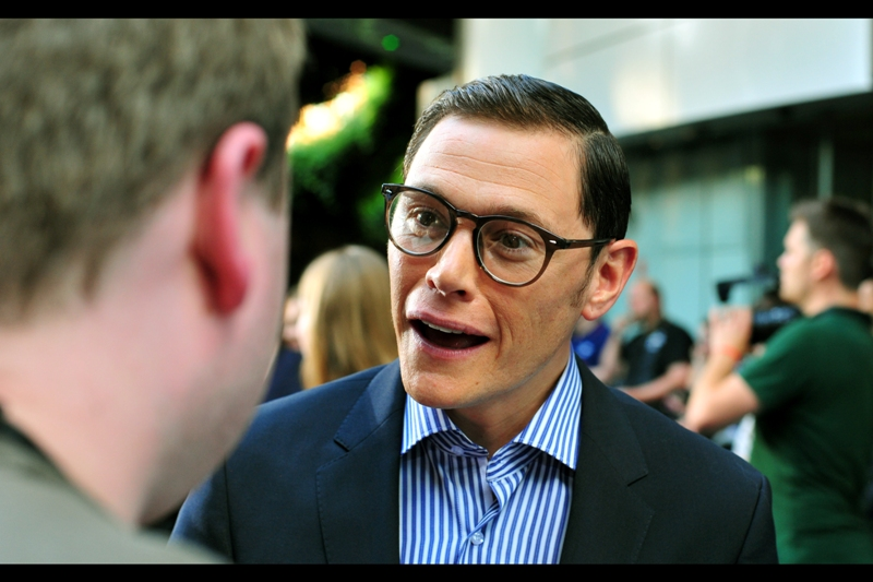 "We have our first ""Real"" arrival : and excitingly, as soon as I saw him I was all ""It's that weaselly banker dude from The Dark Knight Rises!!"". And I was right. His name is Burn Gorman."