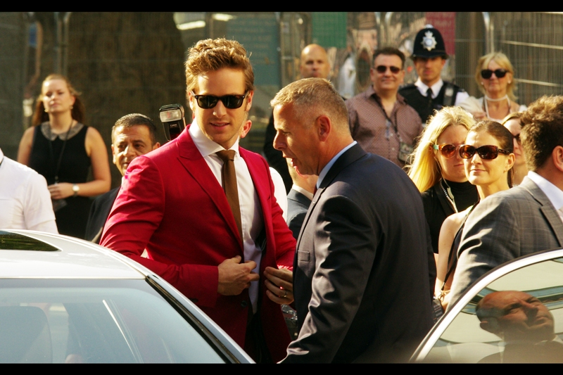 Armie Hammer arrives, and his suit reminds me that Queensland won their eighth straight Rugby League 'State of Origin' series last week, which was pretty awesome.