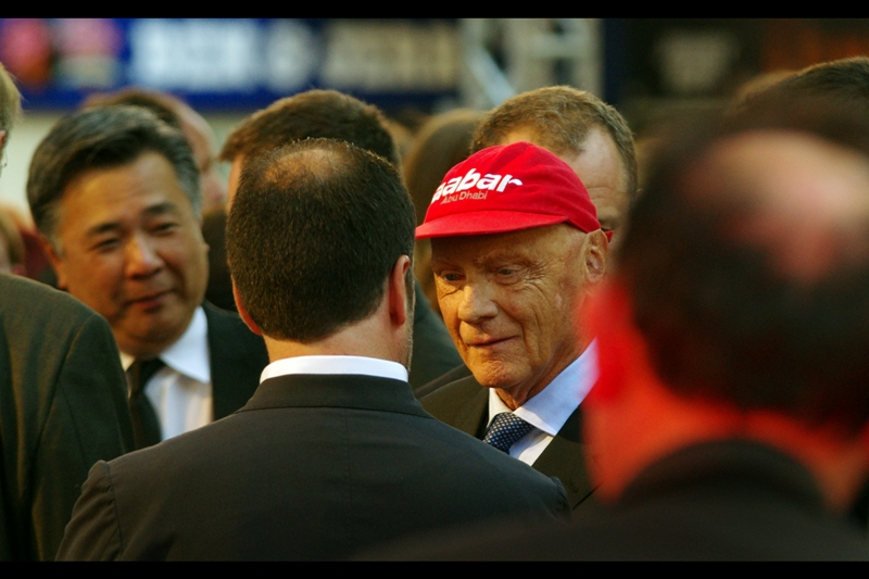 Austria's triple F1 champ Niki Lauda attended this premiere (That's Austria - the country with the Mountans and the Mozart... not the Kangaroos and Koalas) He won the championship in 1975, 1977 and 1984) - his role is played by German actor Daniel Brühl in the film.