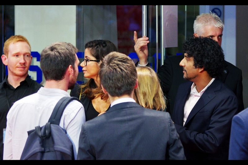 The guy on the right who is not looking at me is 'Naveen Andrews' who plays Dr Hasnat Khan in the film. The guy on the left I like to think of as the Harry Potter series' Ron Weasley as he might have been.