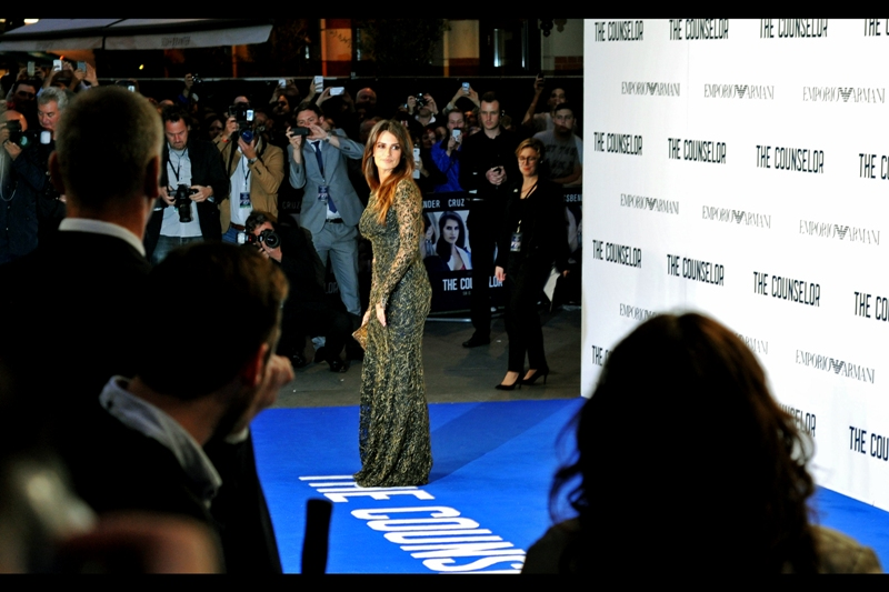 Penelope Cruz arrives, and I've checked today's Metro : her dress has a name, and it's complicated and I can't remember it.