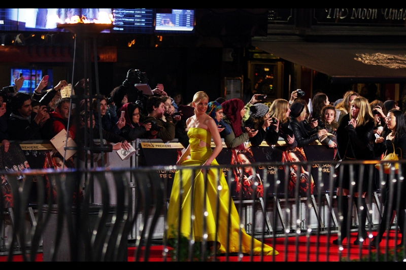 Elizabeth Banks and her incredible dress walk the red carpet unaccompanied, and I can't help her. Actually, all of sudden that view of the Odeon Leicester Square behind me has opened up some great additional photography opportunities!