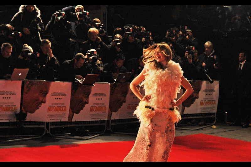 You might be wondering what's going on, but honestly, when I think of Nelson Mandela I always think of feathers and fashion on red carpet runways. (you don't?)