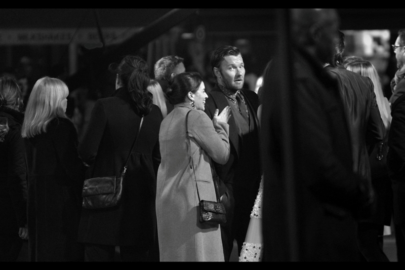 The lady in front of actor Joel Edgerton is wearing the most highly pink coat manufactured outside of product testing and CIA interrogations, so I've gone black'n'white for this photo.
