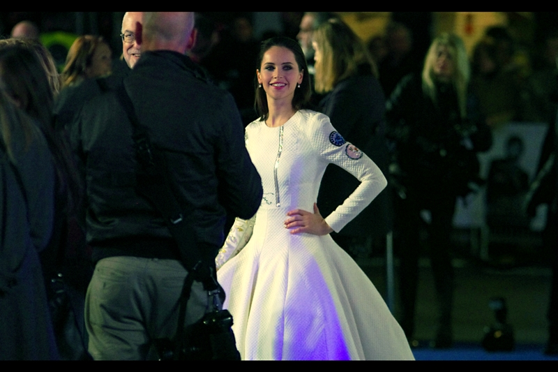 """My dress is not for sale. At least... not while I'm wearing it"".  I last photographed Felicity Jones at  the premiere of ""The Invisible Woman"" , which I'll always remember for being the premiere where Professor Snape and Voldemort buried their differences and reconciled."
