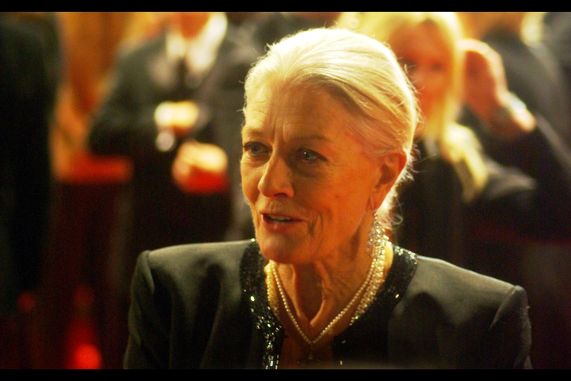 It's Vanessa Redgrave, who picked up a BAFTA Fellowship on the night (which I'm given to understand is a Very Big Deal), and could be an outside chance for a medal in the freestyle aerials event if my Olympics theory is right.