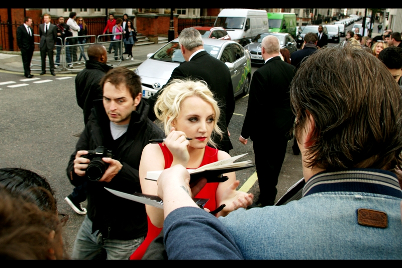 Evanna Lynch played the role of Lovegood in the Harry Potter films, the last one of which was so big they used Trafalgar Square and my  photo journal for it originally stretched across TWO journals ! Famously, she was selected for the role at least partially for being a huge, huge fan of the series going into the audition.