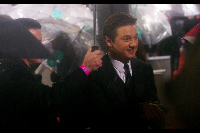 Jeremy Renner was  Hawkeye in The Avengers  and was also in The Hurt Locker. He was also the only person to ask us how we were all doing this evening when he came over. Although, George Clooney asked if we were alright, too. Nice guys.
