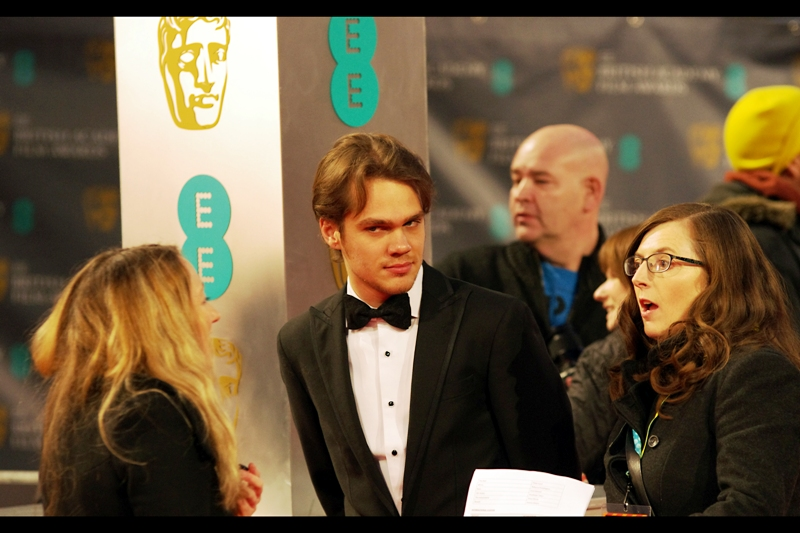 """Please tell me again how great I look"" ""I just said you look better than all the dodgey t-shirts you wear in the movie""  Ellar Coltrane is the main/lead/subject (??) of Richard Linklater's ""Boyhood"", which won best picture and best director Baftas on the night."
