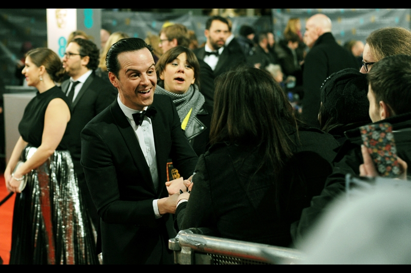 """You want me to stab you with this sharpie? The nib's pretty soft... it's probably going to take multiple attempts over an extended period if you're okay with that?"" Andrew Scott is Moriarty in the TV Series Sherlock, and is also in the movie ""Pride"" which has nominations at these Awards."