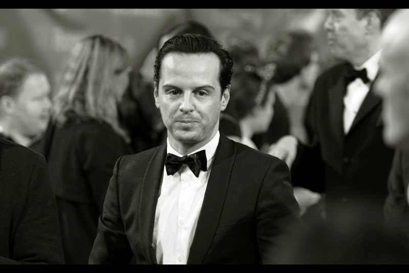 Last time I photographed Andrew Scott he was wearing a Hawaiian shirt at an Apple Store event and it was pretty hard to make him - or anyone - look like a criminal mastermind in a Hawaiian shirt. Tuxedoes, though, can be both classy AND menacing.
