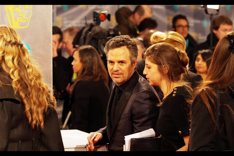 """You wouldn't like me if I was piqued, irritable, or mildly annoyed either"". Mark Ruffalo's Bafta nomination was for Best Supporting Actor for 'Foxcatcher', at whose premiere he was not. He's better known for being Bruce Banner / The Hulk in The Avengers."
