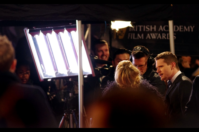"Long range shot of a heating/lighting rig, and also actor Jack O'Connell, who ended up winning the Bafta for the EE Rising Star Award. I had previously photographed him at The Premiere of ""Unbroken"""