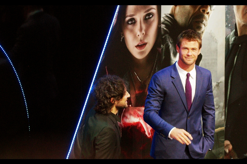 """""""Soon""""  Chris Hemsworth is next up to be interviewed, and he might have been answering questions about Scarlett Johansson's whereabouts or half-brother Loki's next appearance in a Marvel film. I wasn't paying attention."""