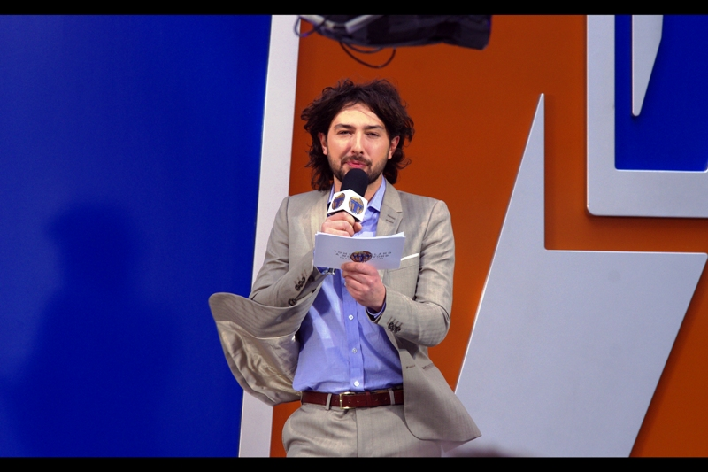 Our host for this evening/late afternoon premiere is Alex Zane, and he appears to have brought along his own personal wind-machine.