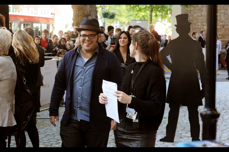 "On the  ""random arrivals, non-shiny-dress-wearing""  front, this is Josh Gad, arguably best known for being the voice of Olaf (the snowman) in Disney's 'Frozen'"