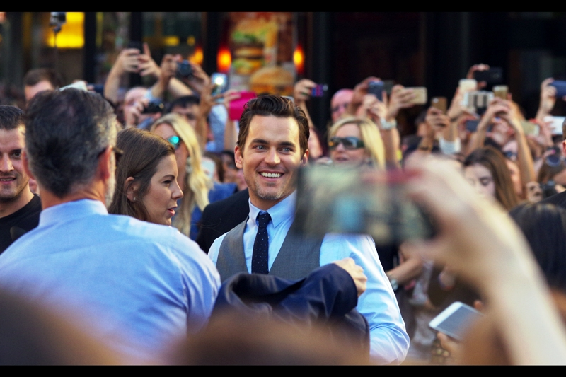 """You guys think I'm Channing Tatum, don't you?"" The vest is very fetching, even to a sworn T-Shirt wearer such as myself. But this is Matt Bomer, Emmy Winner and arguably best known for being in the sadly mostly forgotten 2010 movie ""In Time"", whose premiere he did not attend."
