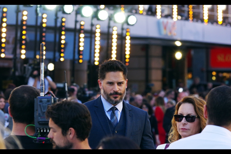 "Meanwhile, on the subject of ""arrivals at this premiere who are not Amber Heard"" - I don't care who this is. (Edited to add : fine. Joe Manganiello. Best known for arriving after Amber Heard at this premiere and briefly forcing me to photograph him because technically he's in this movie)"