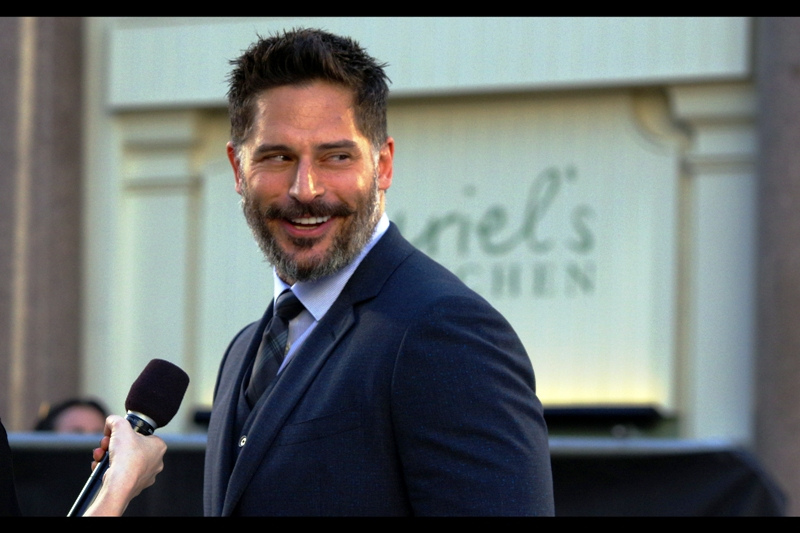 """Yeah... well.... my TIE is more blue than her dress!!"". This much is true. Other than that, I wasn't paying attention to what Joe Manganiello was saying."