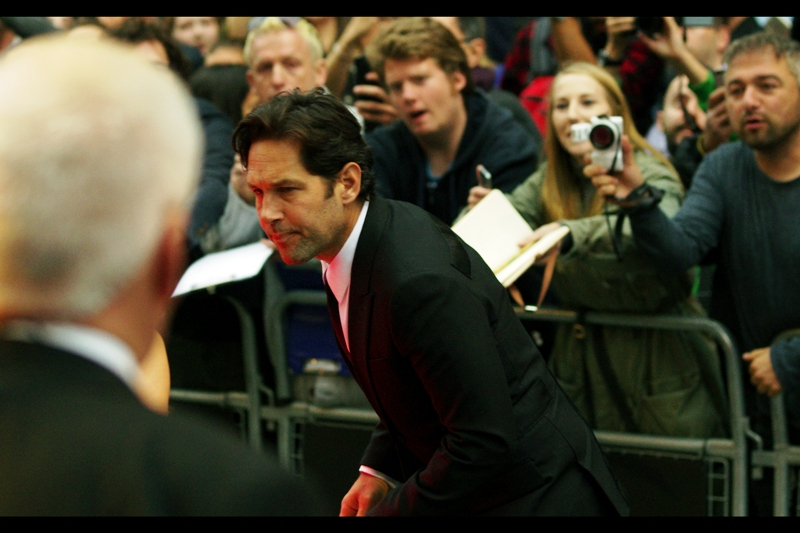 """Every time I lean in to look at something more closely, somebody takes a photo and makes a comment about ants""  . Paul Rudd won the 'leading man' 'award' on the night... which might surprise anyone who's watched Ant-Man and would suggest Evangeline was tougher.... or if you've ever met Jason Statham."