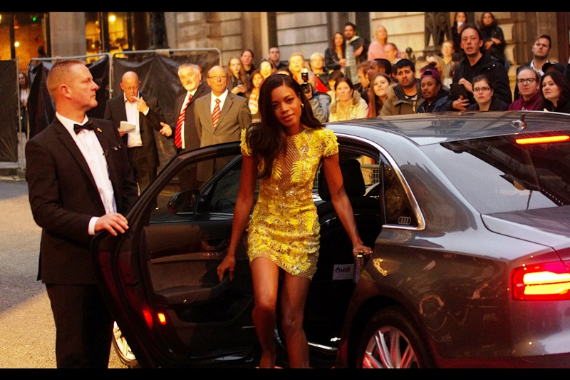 The word 'yellow' floats through my mind, looking for something to connect with... before I recognise her as Naomie Harris, the current Miss Moneypenny in James Bond films. The upcoming premiere for SPECTRE has been announced for late October, but I'm already in pre-emptive mourning for the almost certainly that I won't be able to randomly get a great spot at that premiere like I did at  the premiere for SKYFALL back in 2012