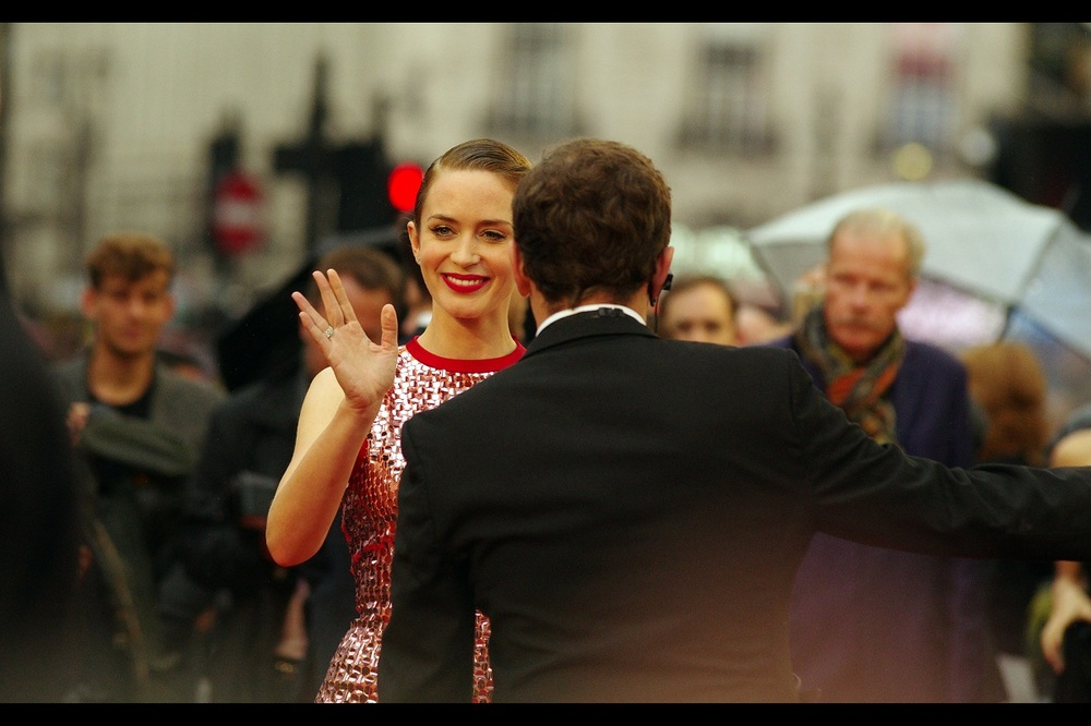 Along with being talented, pretty and variously awesome.... Emily Blunt is also very nice. I've previously photographed her at  the premiere of 'The Young Victoria'  way back in the day... and last year at  the premiere of 'Edge of Tomorrow' . Both movies : Excellent.