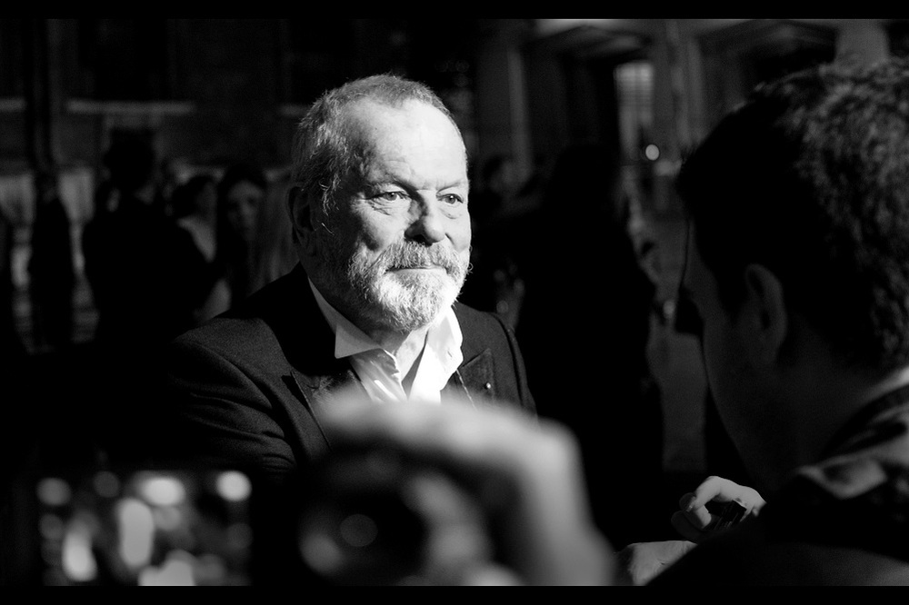 Terry Gilliam is somewhat hard to recognise without a coloured shirt and one of his famous dishtowel capes. In formal attire he looks like he could safely be given a Marvel franchise film to direct. Almost.
